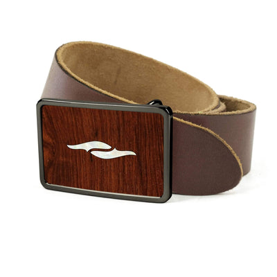 Thalia Belts Indian Rosewood & Taylor 800 Series Element | Premium Leather Belt Black Chrome / Dark Brown / 26