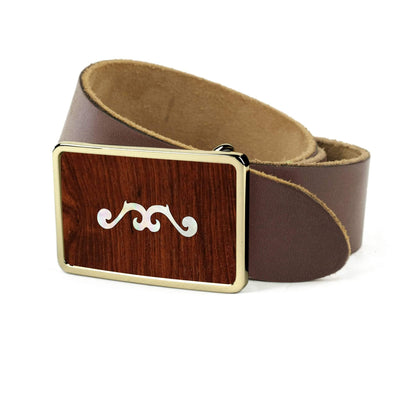 Thalia Belts Indian Rosewood & Taylor 900 Series (2001 - 2010) | Premium Leather Belt 24K Gold / Dark Brown / 26
