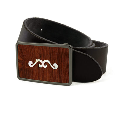 Thalia Belts Indian Rosewood & Taylor 900 Series (2001 - 2010) | Premium Leather Belt Brushed Black / Black / 26