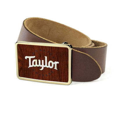 Thalia Belts Indian Rosewood & Taylor Pearl Logo | Premium Leather Belt 24K Gold / Dark Brown / 26