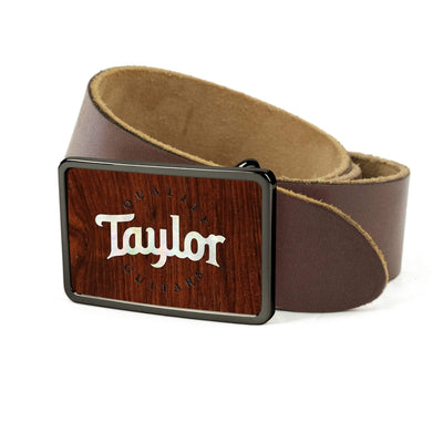 Thalia Belts Indian Rosewood & Taylor Pearl Logo | Premium Leather Belt Black Chrome / Dark Brown / 26