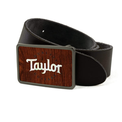 Thalia Belts Indian Rosewood & Taylor Pearl Logo | Premium Leather Belt Brushed Black / Black / 26
