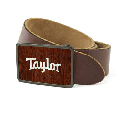 Thalia Belts Indian Rosewood & Taylor Pearl Logo | Premium Leather Belt Brushed Black / Dark Brown / 26