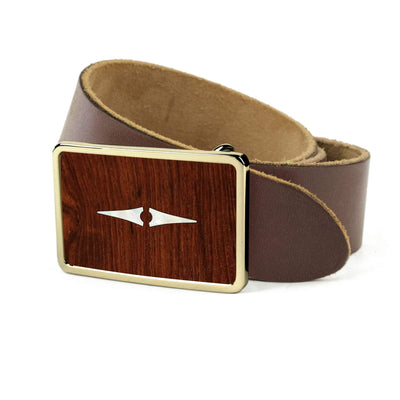 Thalia Belts Indian Rosewood & Taylor Progressive Diamonds | Premium Leather Belt 24K Gold / Dark Brown / 26