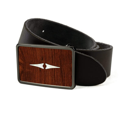 Thalia Belts Indian Rosewood & Taylor Progressive Diamonds | Premium Leather Belt Black Chrome / Black / 26