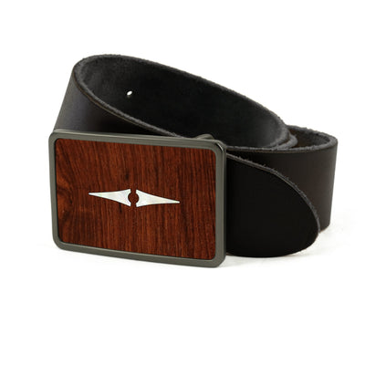 Thalia Belts Indian Rosewood & Taylor Progressive Diamonds | Premium Leather Belt Brushed Black / Black / 26