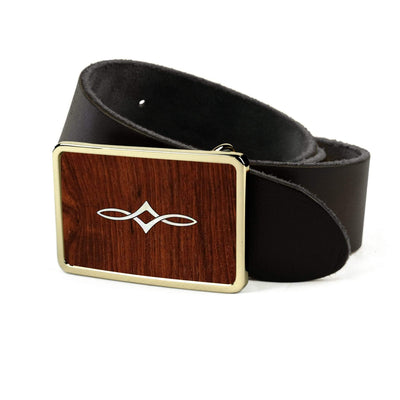 Thalia Belts Indian Rosewood & Taylor Twisted Ovals | Premium Leather Belt 24K Gold / Black / 26