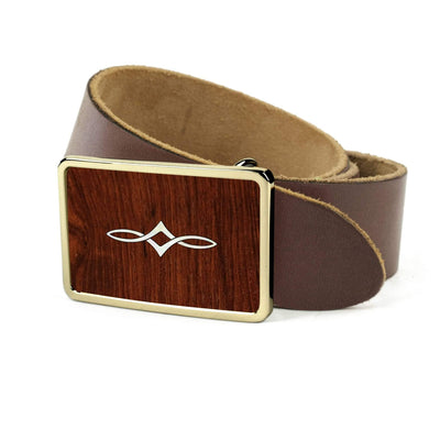 Thalia Belts Indian Rosewood & Taylor Twisted Ovals | Premium Leather Belt 24K Gold / Dark Brown / 26