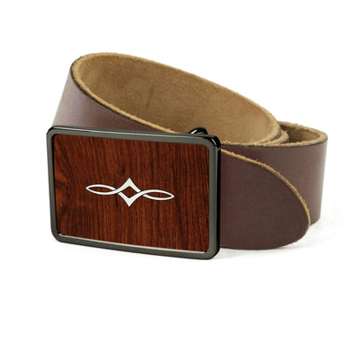 Thalia Belts Indian Rosewood & Taylor Twisted Ovals | Premium Leather Belt Black Chrome / Dark Brown / 26