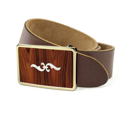 Thalia Belts Santos Rosewood & Taylor 400 Series Renaissance | Premium Leather Belt 24K Gold / Dark Brown / 26