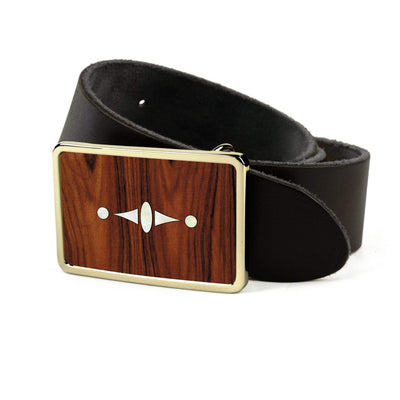 Thalia Belts Santos Rosewood & Taylor 500 Series Century | Premium Leather Belt 24K Gold / Black / 26