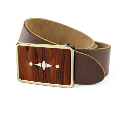 Thalia Belts Santos Rosewood & Taylor 500 Series Century | Premium Leather Belt 24K Gold / Dark Brown / 26