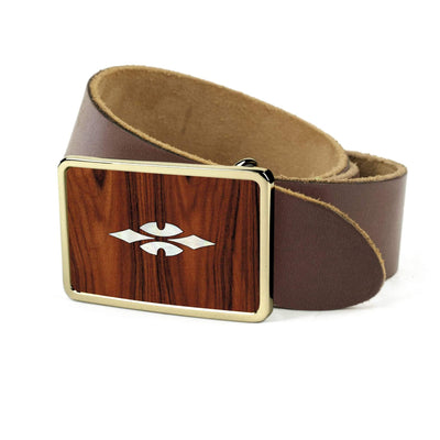 Thalia Belts Santos Rosewood & Taylor 700 Series Reflections | Premium Leather Belt 24K Gold / Dark Brown / 26