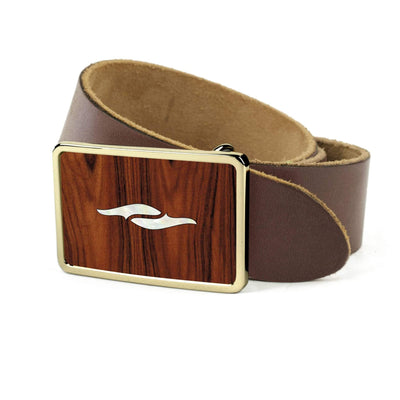 Thalia Belts Santos Rosewood & Taylor 800 Series Element | Premium Leather Belt 24K Gold / Dark Brown / 26