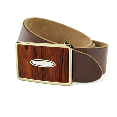 Thalia Belts Santos Rosewood & Taylor Progressive Dots | Premium Leather Belt 24K Gold / Dark Brown / 26