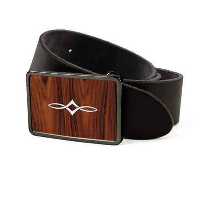 Thalia Belts Santos Rosewood & Taylor Twisted Ovals | Premium Leather Belt Black Chrome / Black / 26