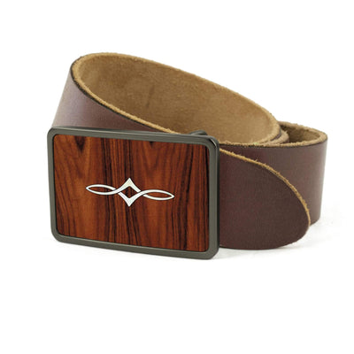Thalia Belts Santos Rosewood & Taylor Twisted Ovals | Premium Leather Belt Brushed Black / Dark Brown / 26