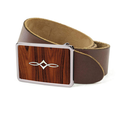 Thalia Belts Santos Rosewood & Taylor Twisted Ovals | Premium Leather Belt Chrome / Dark Brown / 26