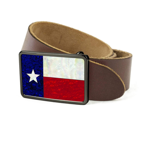 Thalia Belts Texas Lonestar Shell Inlay | Premium Leather Belt Black Chrome / Black / 32