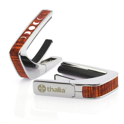 Thalia Capo AAA Grade Curly Hawaiian Koa & Pearl Moon Phases | Capo Chrome / Kentucky Bourbon