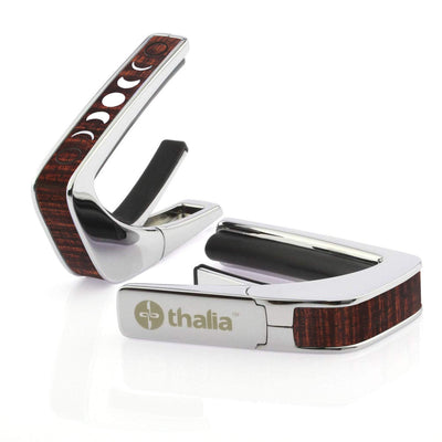 Thalia Capo AAA Grade Curly Hawaiian Koa & Pearl Moon Phases | Capo Chrome / Kona Coffee