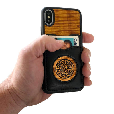 Thalia Phone Case AAA Curly Hawaiian Koa & Celtic Knot | Wallet Phone Case iPhone 11 Pro Max