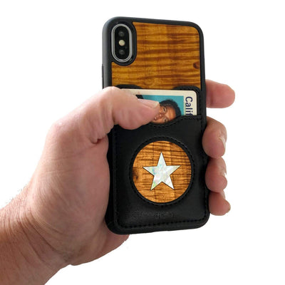Thalia Phone Case AAA Curly Hawaiian Koa & Pearl Star | Wallet Phone Case iPhone 11 Pro Max