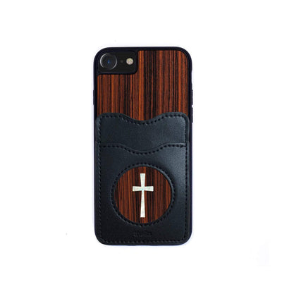 Thalia Phone Case Indian Rosewood & Pearl Cross | Wallet Phone Case iPhone 11 Pro Max