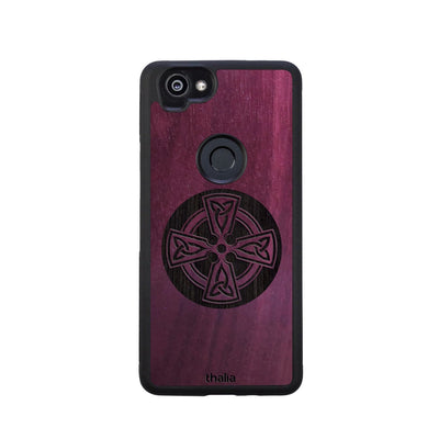 Thalia Phone Case Purpleheart & Celtic Cross Engraving | Phone Case Google Pixel 2