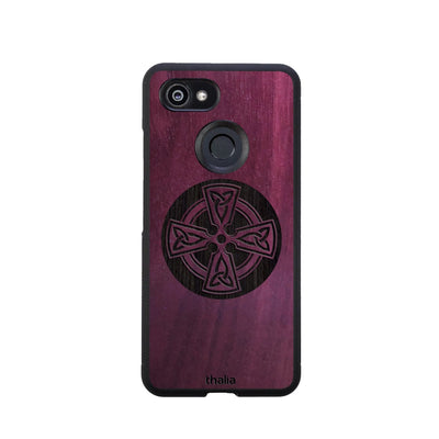 Thalia Phone Case Purpleheart & Celtic Cross Engraving | Phone Case Google Pixel 3
