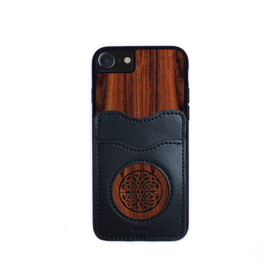 Thalia Phone Case Santos Rosewood & Celtic Knot Engraving | Wallet Phone Case iPhone 11 Pro Max