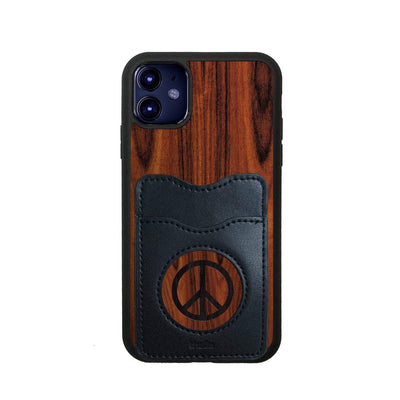 Thalia Phone Case Santos Rosewood & Peace Sign Inked | Wallet Phone Case iPhone 11