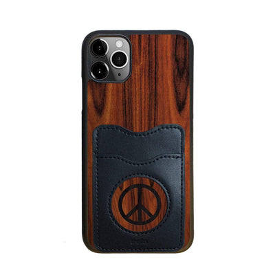 Thalia Phone Case Santos Rosewood & Peace Sign Inked | Wallet Phone Case iPhone 11 Pro Max