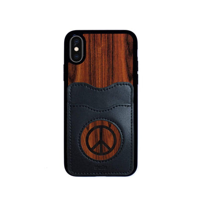 Thalia Phone Case Santos Rosewood & Peace Sign Inked | Wallet Phone Case iPhone X/XS