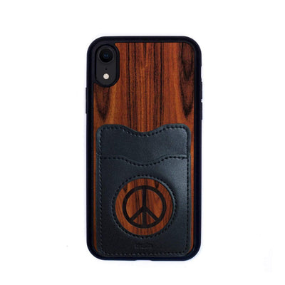 Thalia Phone Case Santos Rosewood & Peace Sign Inked | Wallet Phone Case iPhone XR