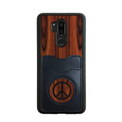Thalia Phone Case Santos Rosewood & Peace Sign Inked | Wallet Phone Case LG G7
