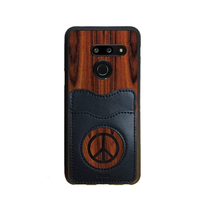 Thalia Phone Case Santos Rosewood & Peace Sign Inked | Wallet Phone Case LG G8