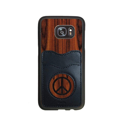 Thalia Phone Case Santos Rosewood & Peace Sign Inked | Wallet Phone Case Samsung Galaxy S7 Edge