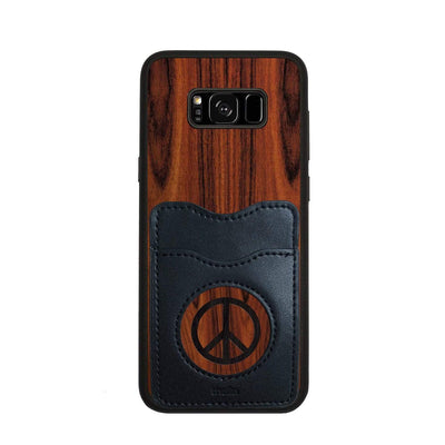Thalia Phone Case Santos Rosewood & Peace Sign Inked | Wallet Phone Case Samsung Galaxy S8 Plus