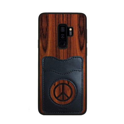 Thalia Phone Case Santos Rosewood & Peace Sign Inked | Wallet Phone Case Samsung Galaxy S9 Plus