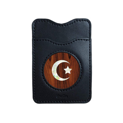 Thalia Phone Wallet Pearl Crescent Moon & Star | Leather Phone Wallet Santos Rosewood