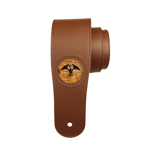 Thalia Strap AAA Curly Hawaiian Koa & Flying Dragon Engraving | Italian Leather Strap Black / Standard
