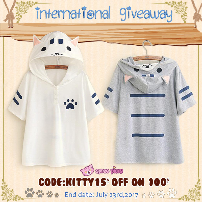 Kawaii Cat Summer Hoodie Giveaway