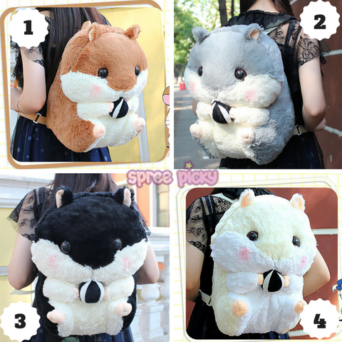 4 Colors Kawaii Hamster Plush Backpack SP164963