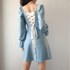 Blue/Black Backless Lace Up Square Collar Long Sleeve