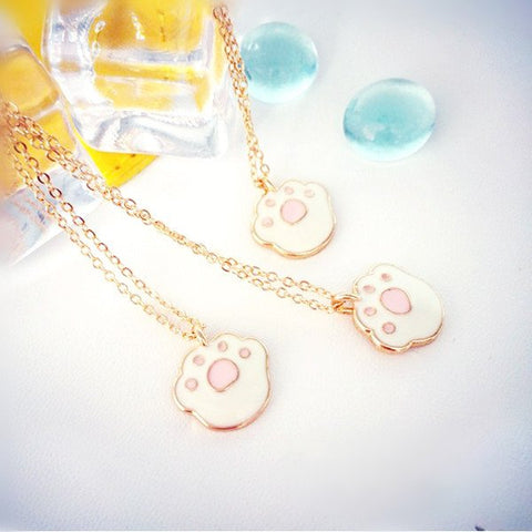 cute cat paw necklace