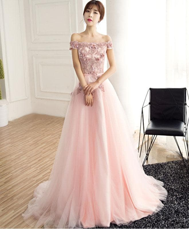 Beautiful Pink Tulle Lace Long Prom Dress, Pink Evening Dress - DelaFur Wholesale