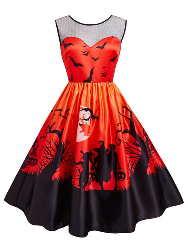 Orange/Purple 1950s Halloween Patchwork Dress SP14291