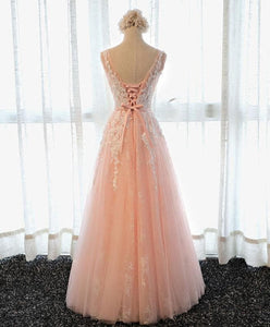 Pink Round Neck Lace Tulle Long Prom Dress, Lace Evening Dress - DelaFur Wholesale