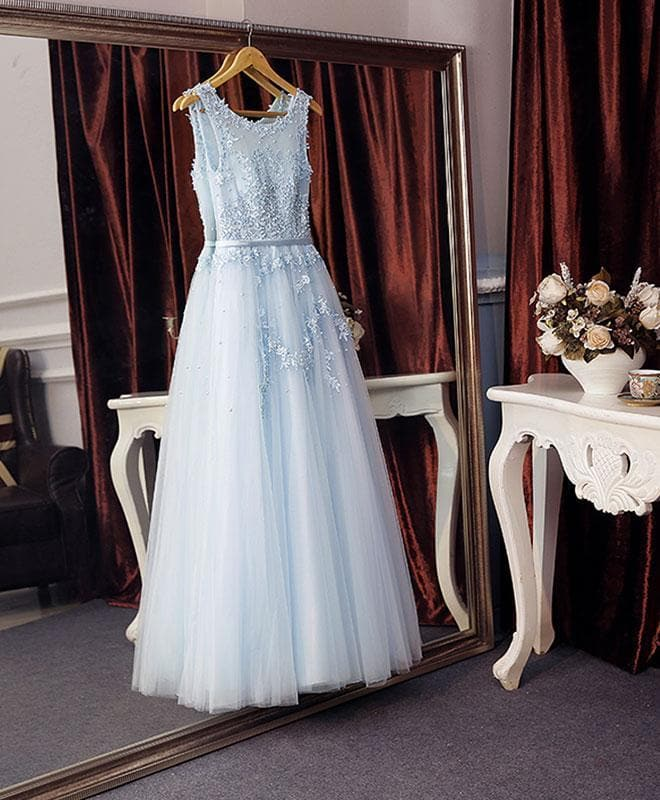 Elegant Lace Tulle Long A Line Prom Dress, Evening Dress - DelaFur Wholesale
